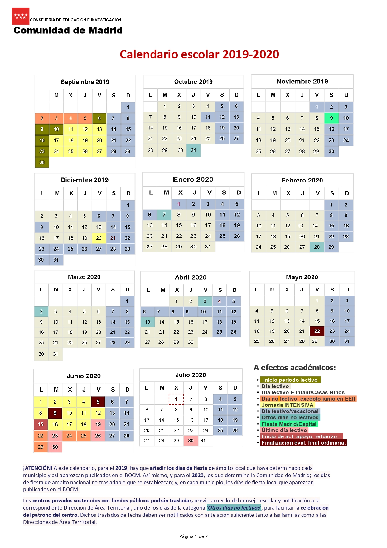 Calendario Madrid 2019.Colegio La Purisima Madrid